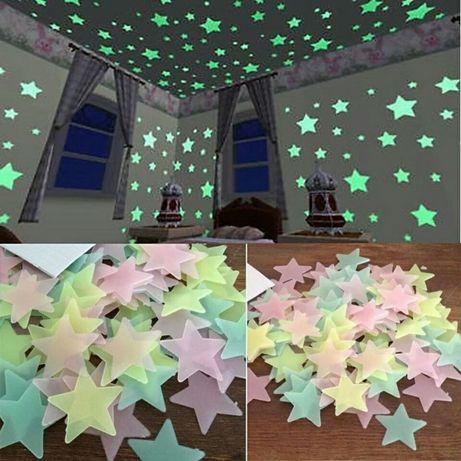 Флоуресцентные звёзды. 100 шт. Светящиеся в темноте