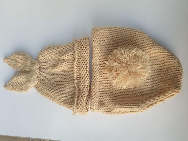 Ubranko króliczek beżowe dla NB foto wełna noworodek