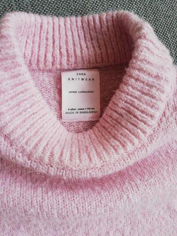Sweterek Zara 110cm kolor pudrowy róż