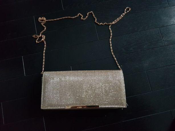 Torebka kopertówka złota elegancka łańcuszek