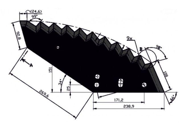 Nóż do paszowozu 541x8mm Kongskilde duży JF-STOLL 1380-00.40 Napawany