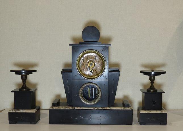 Каминные антикварные часы 19 века с подсвечниками