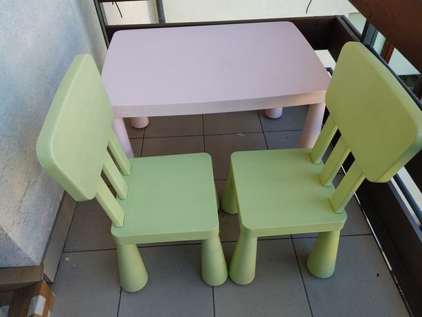 IKEA Mammut mamut stolik różowy + dwa krzesła