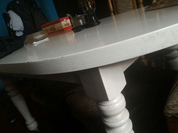 Stół drewniany do jadalni biały lub ława drewniana