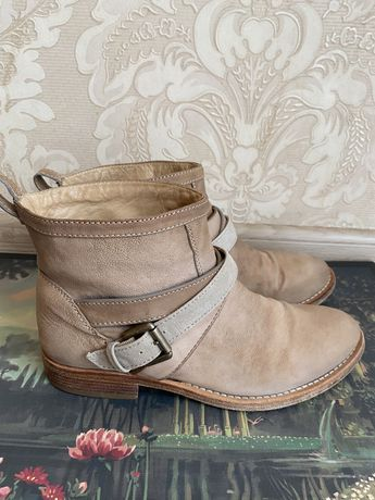 Brunello Cucinelli оригинал Италия короткие бежевые ботинки нубук