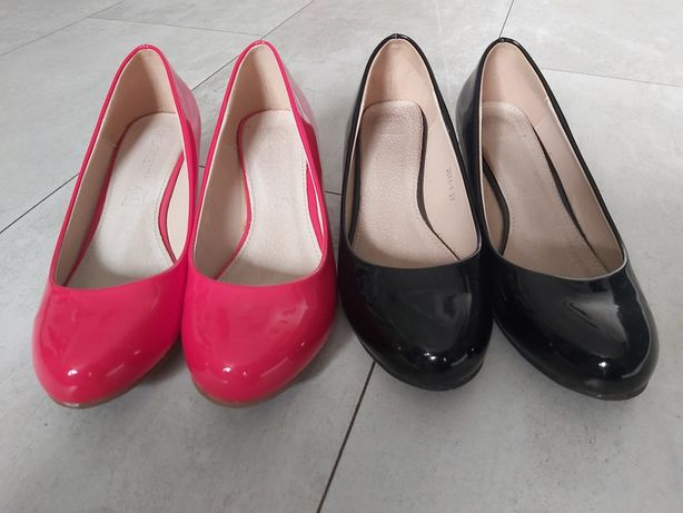 2 x buty koturny lakierowane 36 (23,5)
