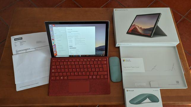 Microsoft Surface Pro 7 + teclado e rato + garantia