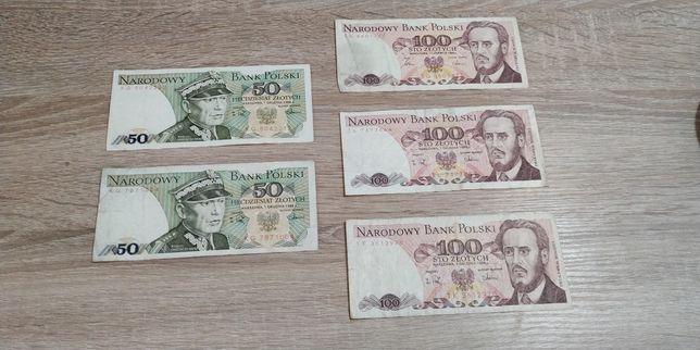 Banknoty banknot kolekcja PRL 2x50zł i 3x100zł dowóz wysyłka