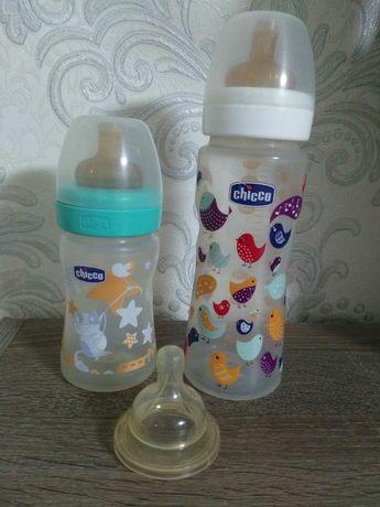 Бутылочки chicco 330 ml и 150 ml. + соска avent