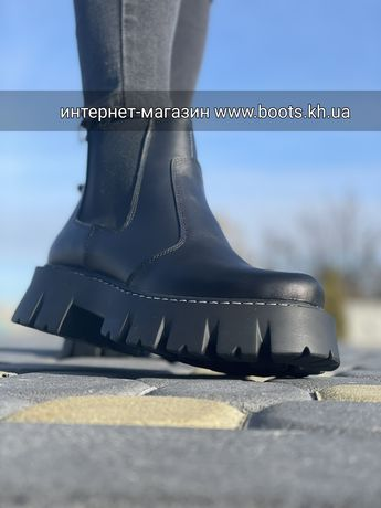 Женские кожаные демисезонные зимние ботинки челси на тракторной подошв