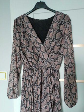 Szyfonową sukienka wzór wąż, plisowana, rozmiar uniwersalny