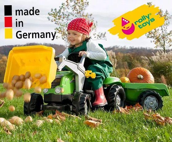 Детский трактор на педалях Rolly Toys 23134, прицеп и ковш / педальный