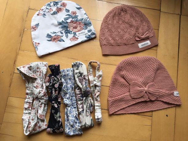 Czapka Newbie KappAhl Opaska kapelusz róże kwiaty ceglasta 50