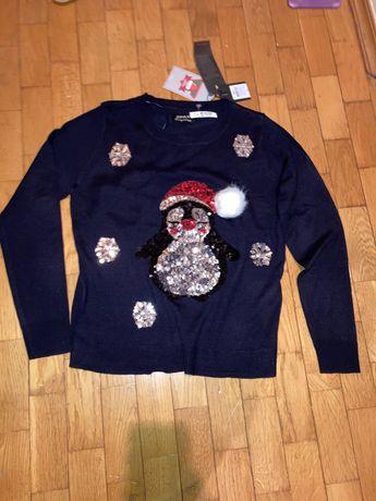 Кофта пуловер новорічний ХС