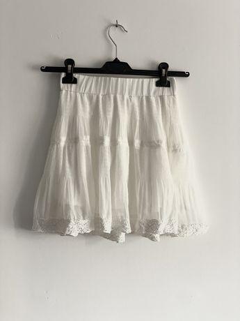 Biała mini spódniczka tiul koronka haft boho krótka zwiewna lato