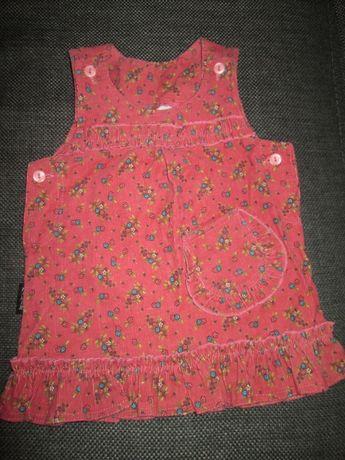 Sukienka dziewczęca PIĘKNA miękki sztruks, stan IDEALNY jak nowa r.74