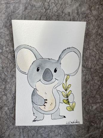 Kartka okolicznościowa koala australia bambus akwarele handmade