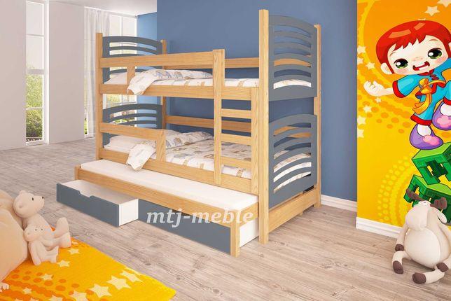 Nowe łożko piętrowe Olek z wysuwanym dolnym spaniem dla 3 dzieci!