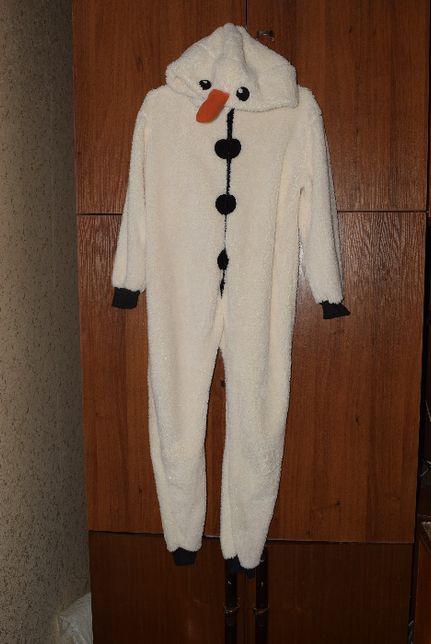 Слип пижама кегуруми снеговик 11-12 лет 146-152см