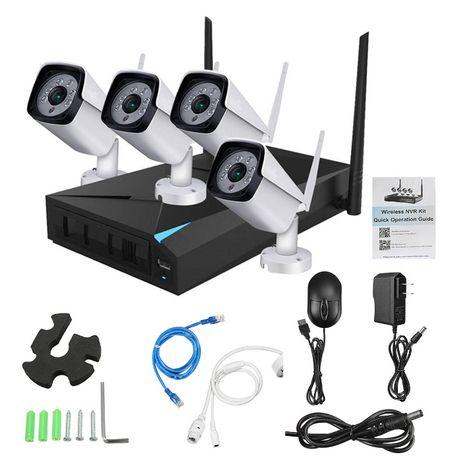 Sistema Video Vigilância Wireless 4 Cameras Sem fios 1080P NOVO Extern