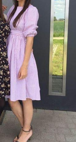 Rozkloszowana sukienka w paski 34 XS 36 S wiosna lato wesele codzień