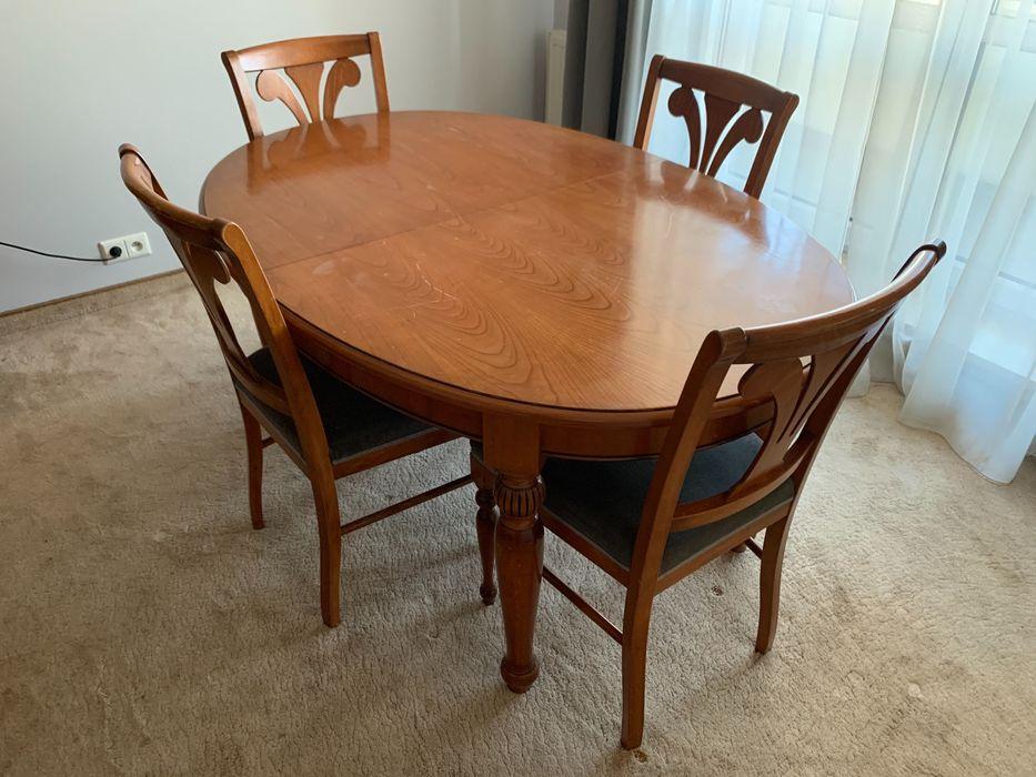 Stół rozkładany drewniany + 4 krzesła Warszawa - image 1