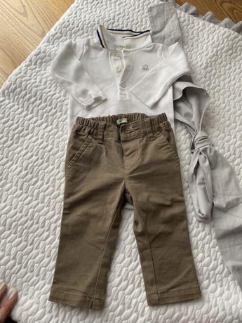 Beżowe , eleganckie spodnie chinosy Benetton