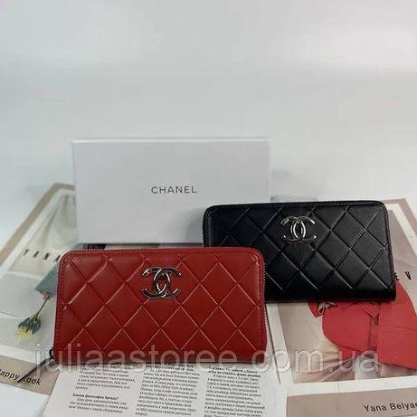 Женский кожаный кошелек клатч на молнии Chanel Шанель жіночий шкіряний