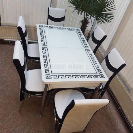 Стол обеденный раскладной + 6\4 Стула\Турция\Каленое стекло\