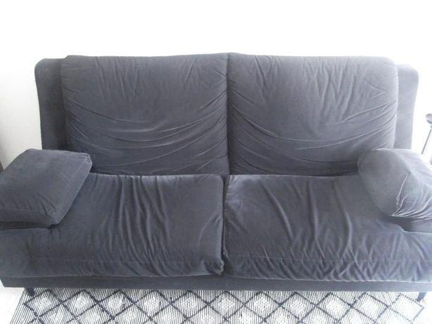 Sofá 3 L, pele pêssego, cor preto
