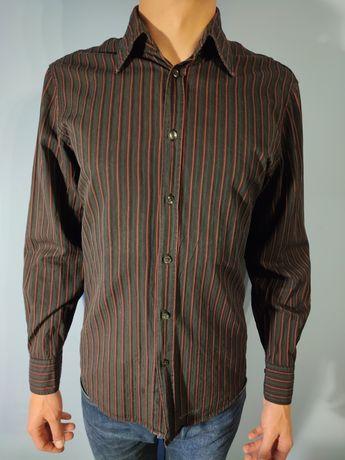 Koszula Marc O'Polo Polo w paski czarna czerwona męska L M z długim