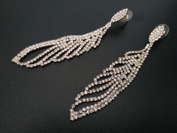 Eleganckie kolczyki z kryształkami - ślub, wesele, komunia, studniówka
