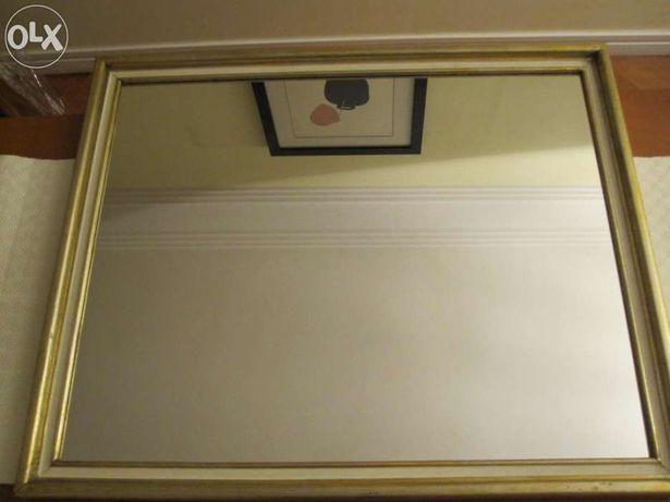 Espelho Grande Moldura Madeira e Gesso Dourada antigo 86 x 71 cm