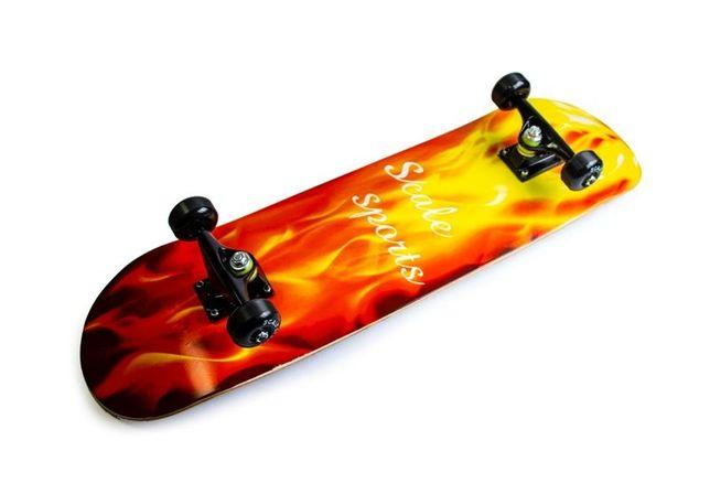 """Скейтборд для трюков скейт с рисунком Scale Sports """"Fire"""" Огонь."""