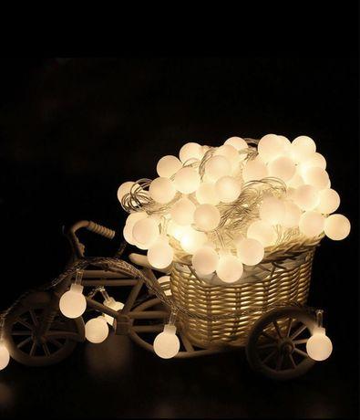 Светодиодная гирлянда шарики, теплый свет