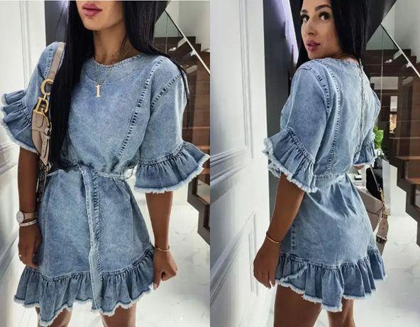 Sukienka NOWA szmizjerka jeansowa 5690 falbany 40 L 42 XL 44 2XL