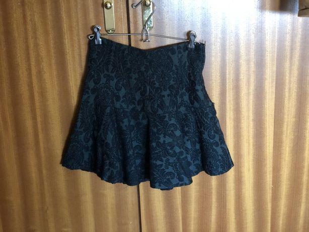 Mini saia vintage verde escuro