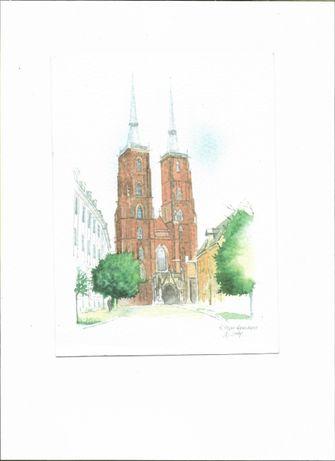 widokówki z kościołami Wrocławia