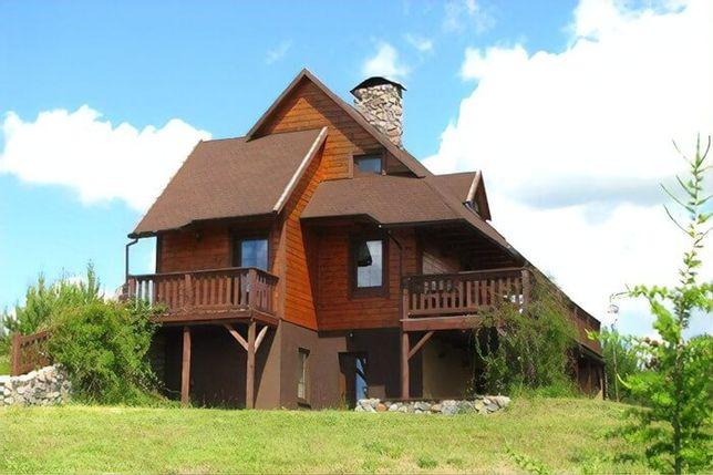 Kaszuby - Duży dom nad jeziorem z kominkiem i banią