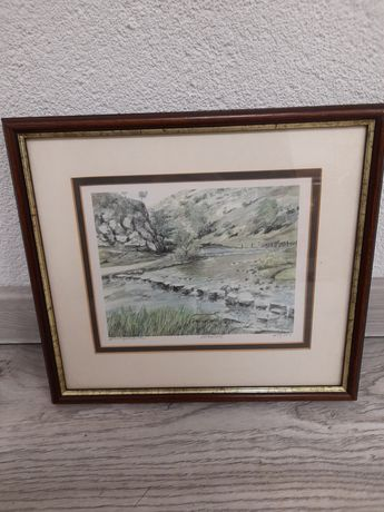 Obrazek w drewnianej ramie 30,5 na 27,5 cm