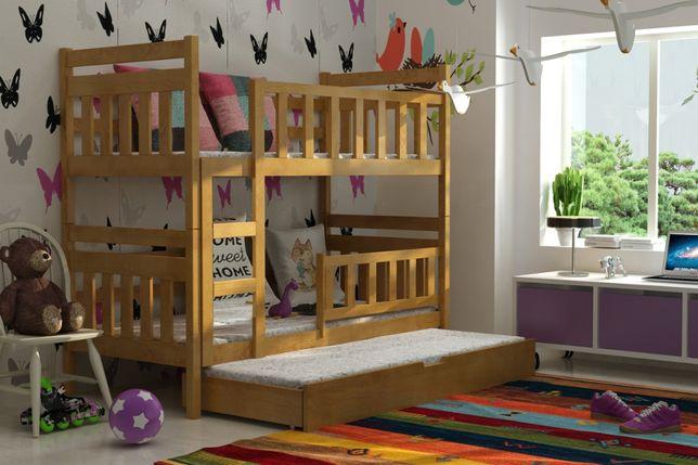 Trzyosobowe łóżko piętrowe STAŚ z drewna sosnowego