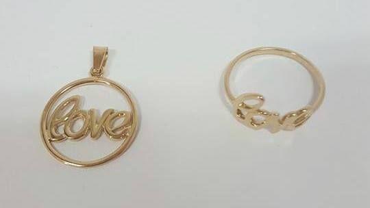"""Złota zawieszka """"LOVE"""" + pierścionek złoto 585 NOWE! komplet"""