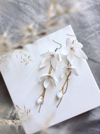 Kolczyki z kwiatami, kolczyki ślubne długie
