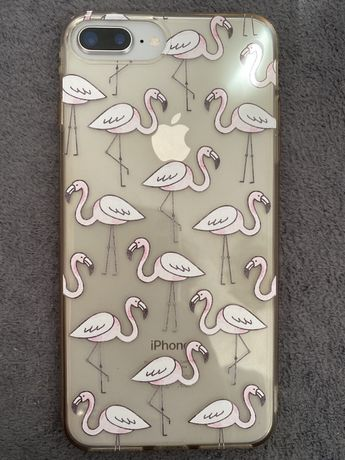 Przezroczysta obudowa we flamingi iPhone 8 plus