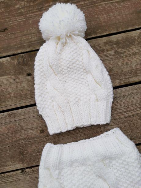 Śnieżnobiały komplet czapka i komin