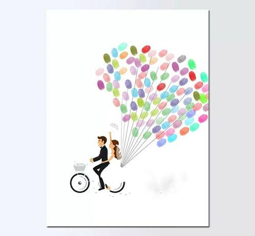 Картина з пальців на весілля, дерево пальці