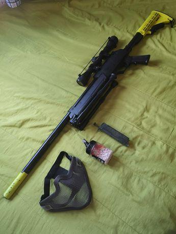 Sniper de Airsoft + Máscara + bbs