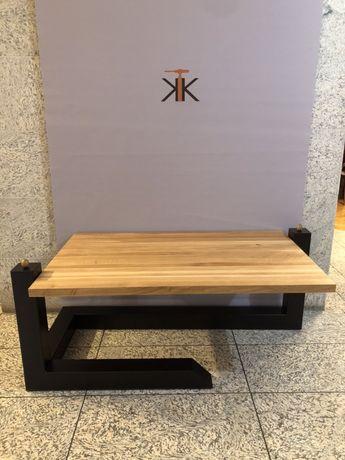Stolik stol loft Nowoczesny blat dębowy
