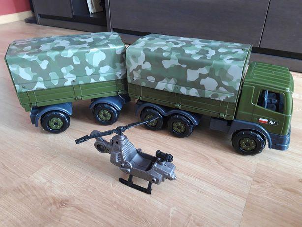 Ciężarówka wojskowa z przyczepą oraz plandeką Wader- 71cm + śmigłowiec