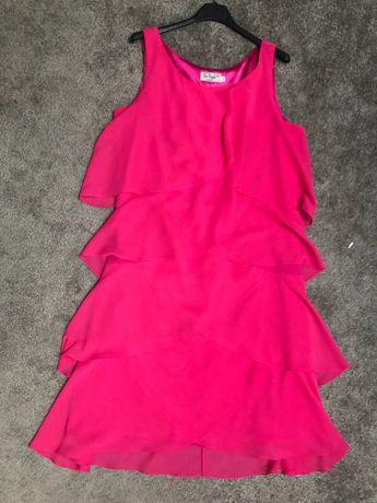 Sukienka różowa idealnie maskująca brzuszek rozm 42